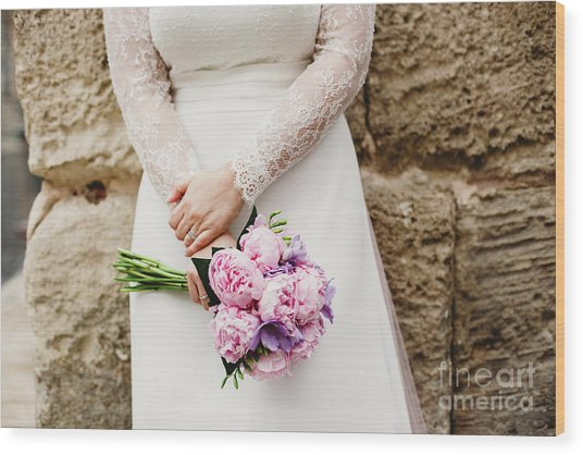 Colorful Bridal Bouquets With Flowers Wood Print