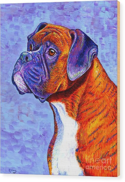 Colorful Brindle Boxer Dog Wood Print