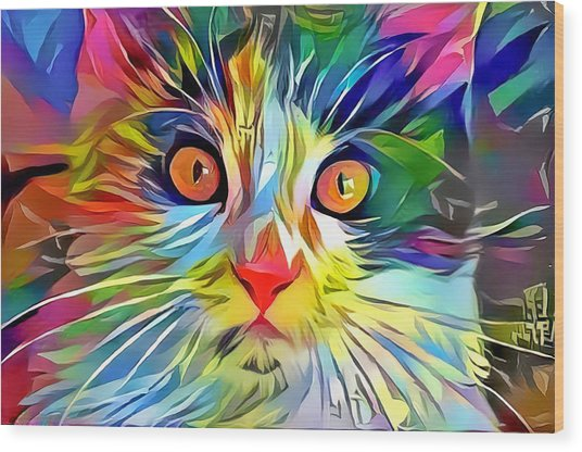 Colorful Calico Cat Wood Print