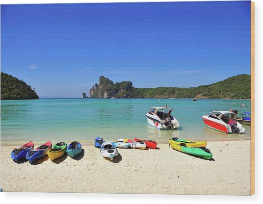 Colorful Canoes On Beach Wood Print by Aaron Geddes Photography