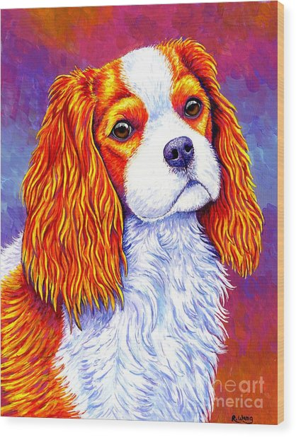 Colorful Cavalier King Charles Spaniel Dog Wood Print
