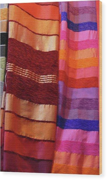 Colorful Fabrics In The Medina Market  Wood Print