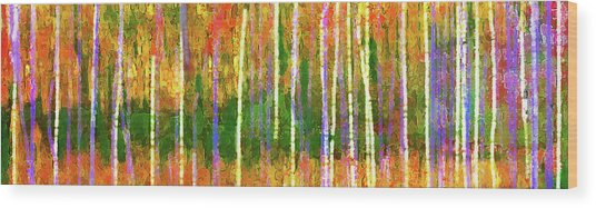 Wood Print featuring the digital art Colorful Forest Abstract by Menega Sabidussi
