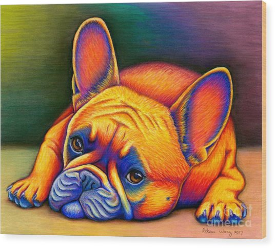 Colorful French Bulldog Wood Print