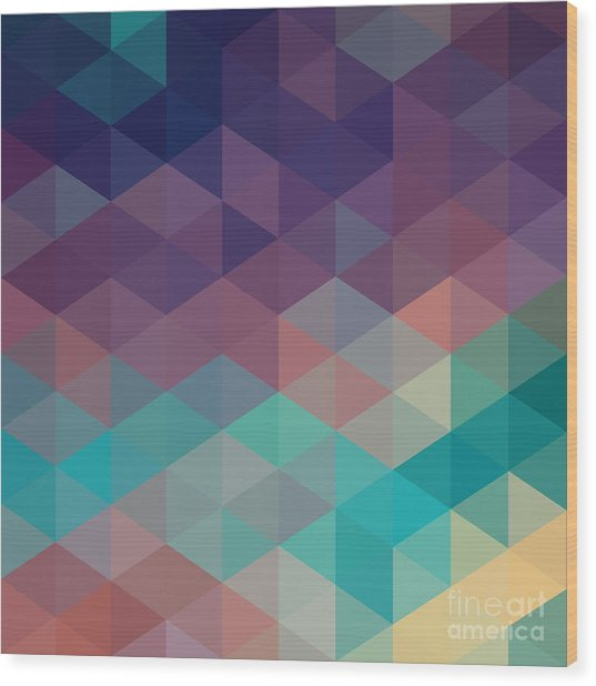 Colorful Geometric Background With Wood Print