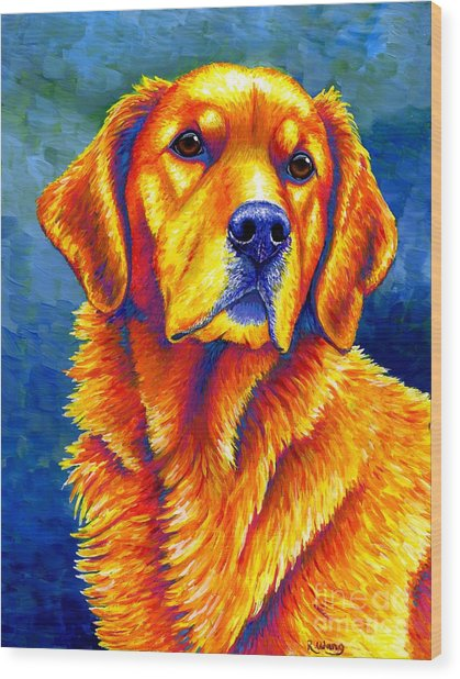Colorful Golden Retriever Dog Wood Print