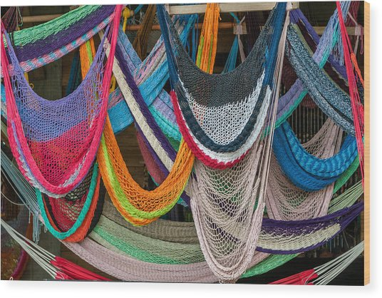 Colorful Hammocks Wood Print by Philippe Marion