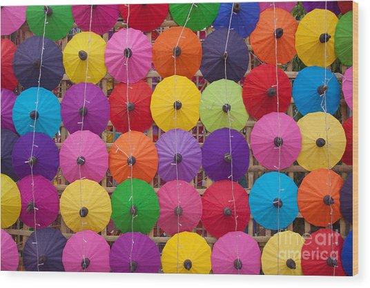 Colorful Handmade Umbrellas Bo Sang Wood Print
