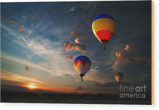 Colorful Hot Air Balloon Is Flying At Wood Print