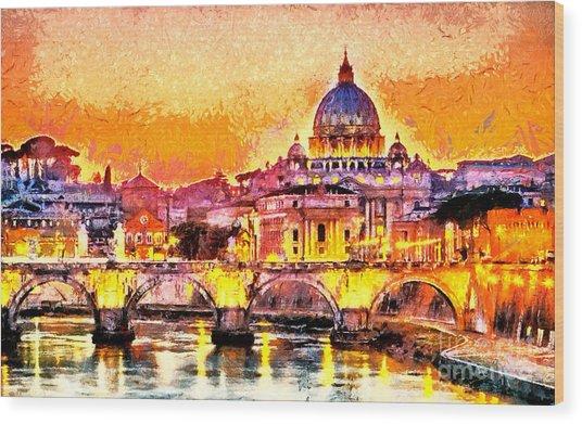 Colorful Illuminated San Peter Basilica Wood Print