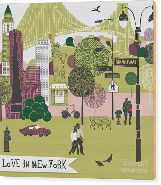 Colorful Illustration Of New York Wood Print by Lavandaart