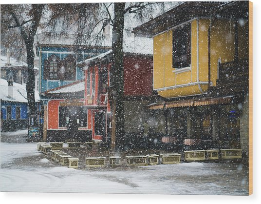 Colorful Koprivshtica Houses In Winter Wood Print