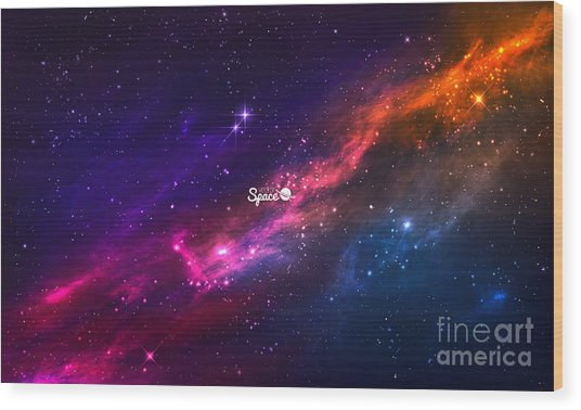 Colorful Nebula In Space Background Wood Print