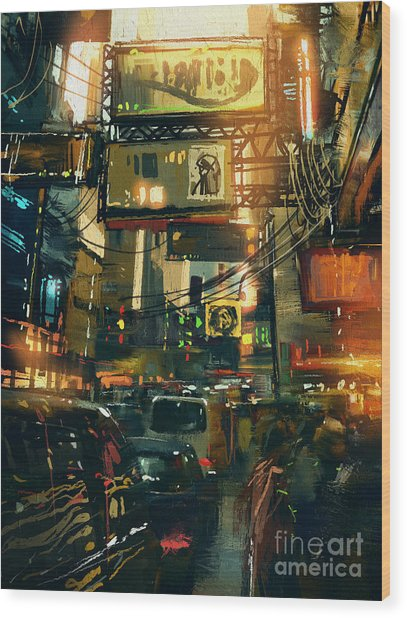 Colorful Painting Of Shopping Street In Wood Print by Tithi Luadthong