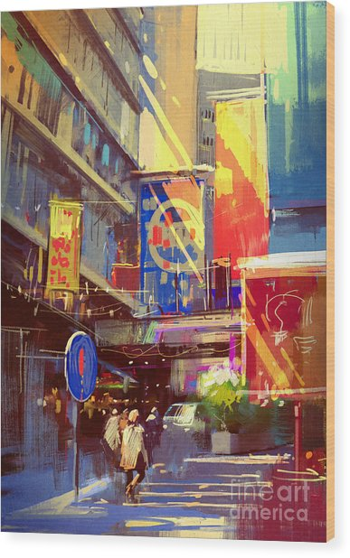 Colorful Painting Of Urban Wood Print by Tithi Luadthong