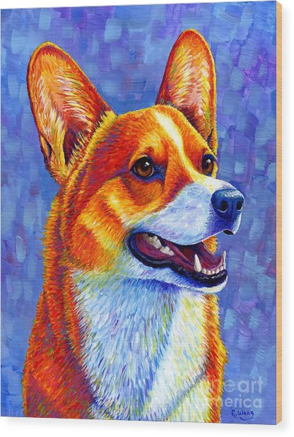 Colorful Pembroke Welsh Corgi Dog Wood Print