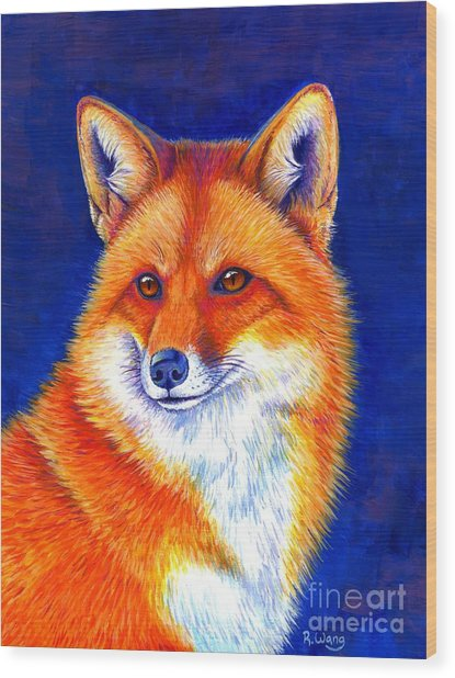 Colorful Red Fox Wood Print