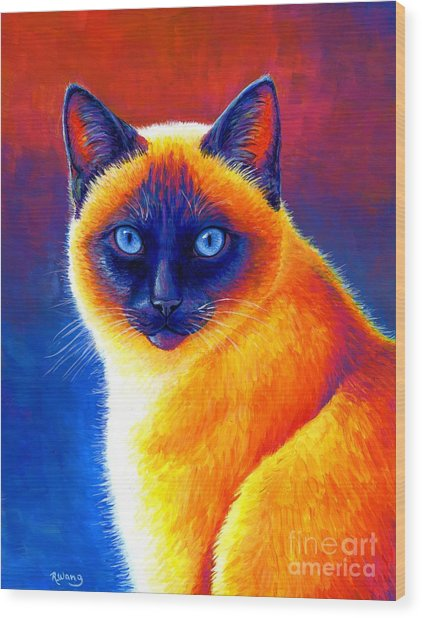 Jewel Of The Orient - Colorful Siamese Cat Wood Print
