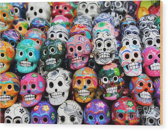 Colorful Skull From Mexican Tradition Wood Print