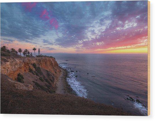 Colorful Sky After Sunset At Point Vicente Lighthouse Wood Print
