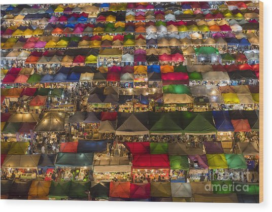 Colorful Street Market From Above Wood Print
