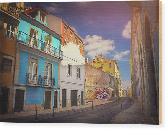 Colorful Streets Of Lisbon Portugal  Wood Print