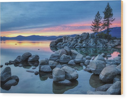 Colorful Sunset At Sand Harbor Wood Print