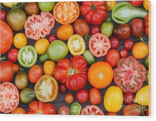 Colorful Tomatoes Wood Print
