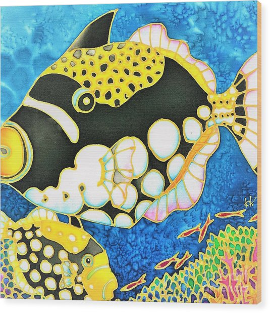 Wood Print featuring the painting Colorful Tropics 18 by Hisayo Ohta
