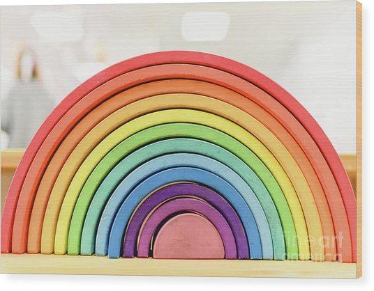 Colorful Waldorf Wooden Rainbow In A Montessori Teaching Pedagogy Classroom. Wood Print