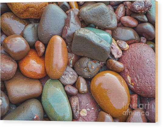 Colorful Wet Stones Wood Print