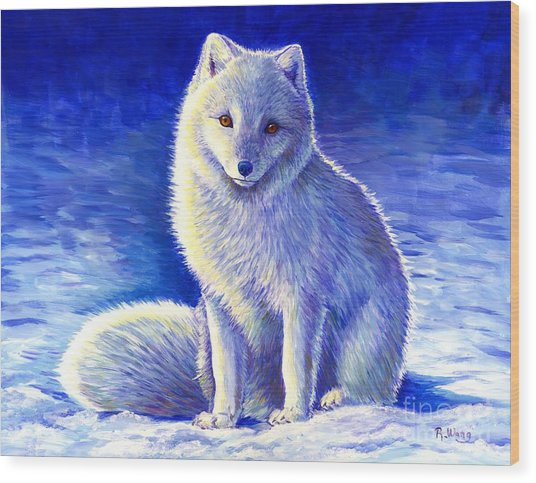 Colorful Winter Arctic Fox Wood Print