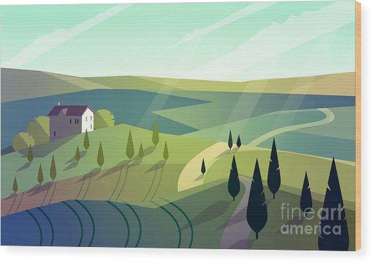 Colorfull Cartoon Flat Landscape Vector Wood Print