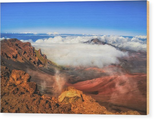 Colors And Clouds Wood Print by Fernando Margolles