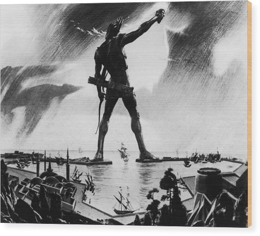 Colossus Of Rhodes Wood Print by Three Lions