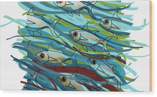 Coloured Water Fish - Digital Change 2 Wood Print