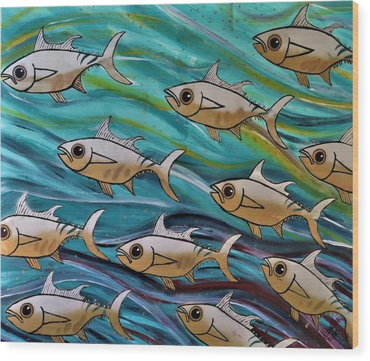 Coloured Water Fish Wood Print