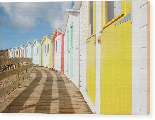 Colourful Bude Beach Huts Wood Print
