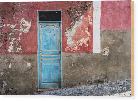 Colorful Wall With Blue Door Wood Print