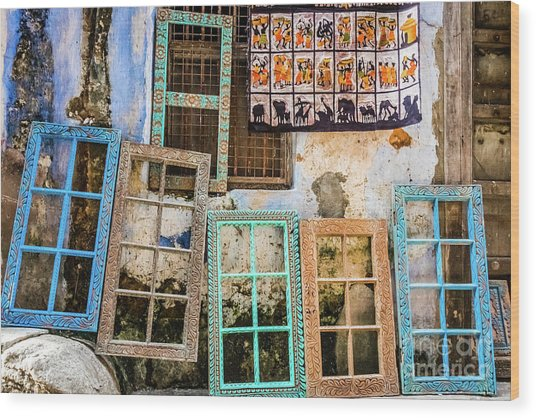 Colorful Window Frames Wood Print