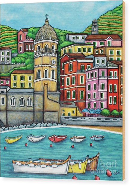 Colours Of Vernazza Wood Print