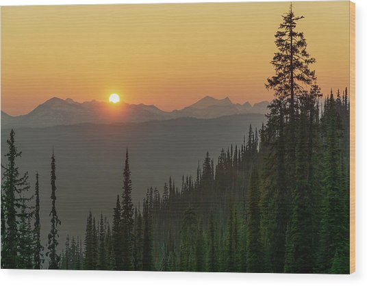 Columbia Mountain Sunset Wood Print