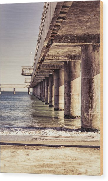 Columns Of Pier In Burgas Wood Print