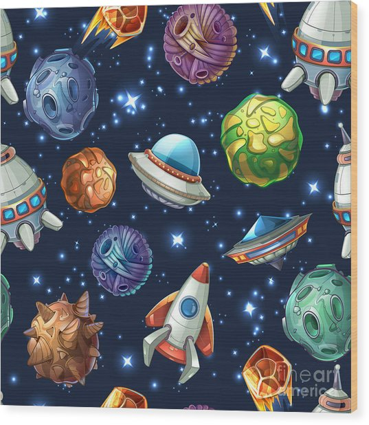 Comic Space With Planets And Wood Print