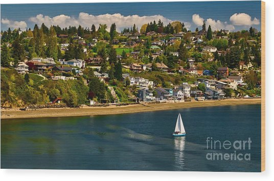 Commencement Bay,washington State Wood Print
