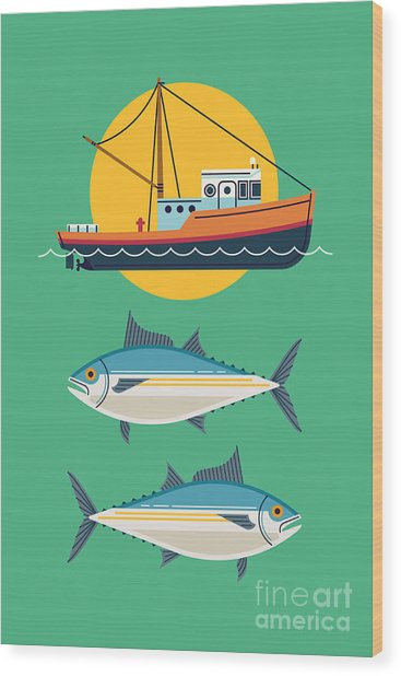 Commercial Fishery Concept Layout. Tuna Wood Print