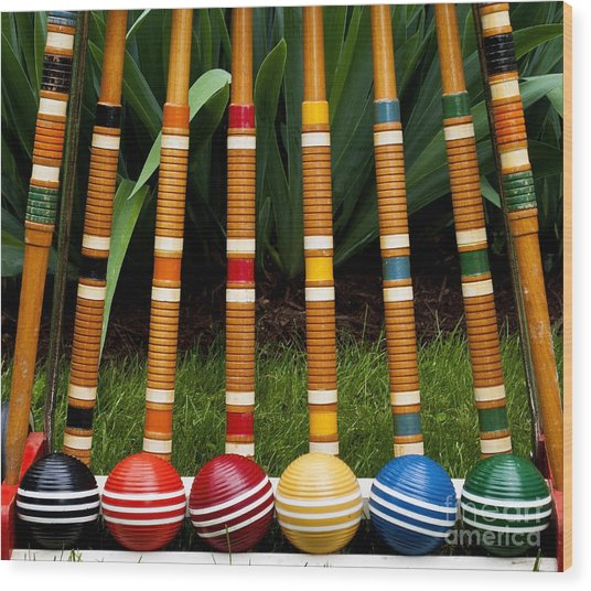 Complete Set Of Croquet Mallets And Wood Print