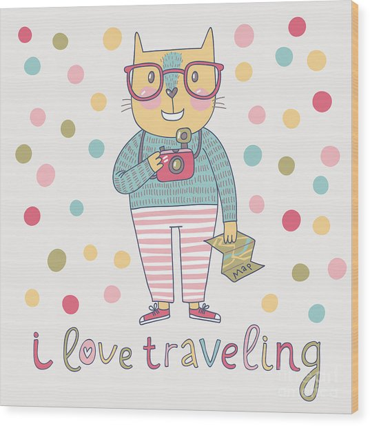 Concept Cat Hipster In Cartoon Funny Wood Print by Smilewithjul