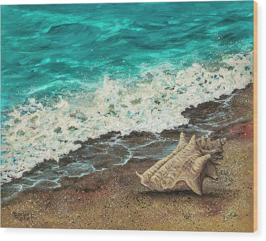 Wood Print featuring the painting Conch Shell by Darice Machel McGuire