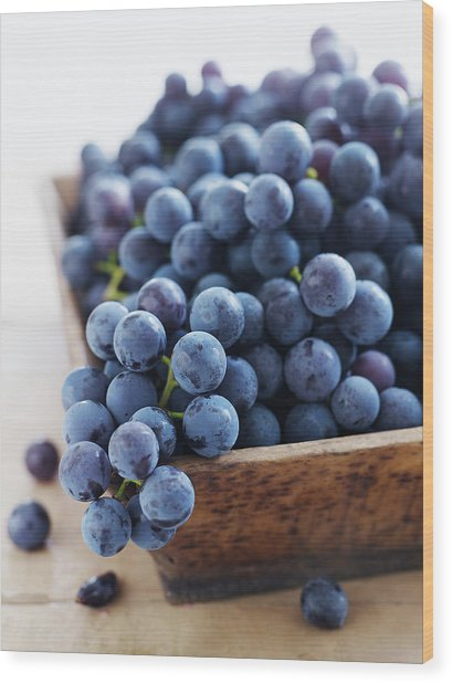 Concord Grapes Wood Print